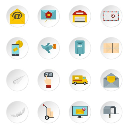 carrier pigeons: Poste service icons set in flat style