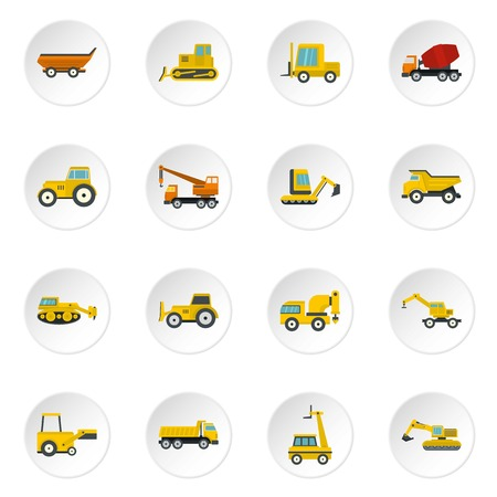 compact track loader: Building vehicles icons set in flat style