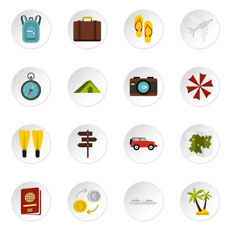 dinghy: Travel icons set, flat style Stock Photo