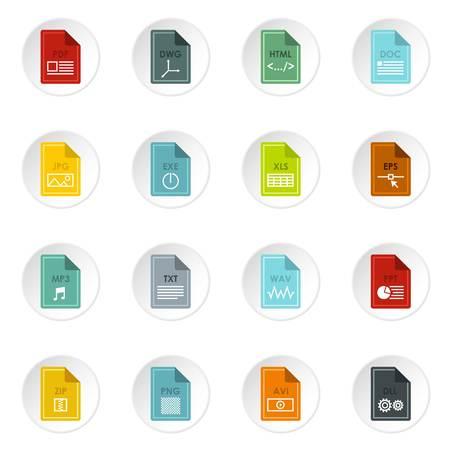 wav: File format icons set, flat style