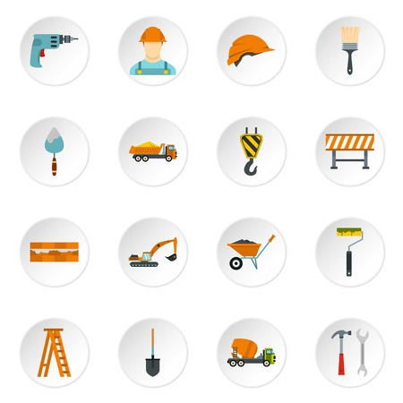 reconstruction: Construction icons set in flat style. Building tools set collection vector icons set illustration Stock Photo