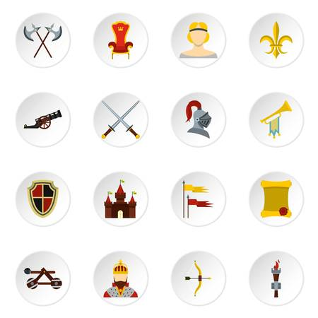 Knight icons set. Flat illustration of 16 knight vector icons set illustration Stock Photo