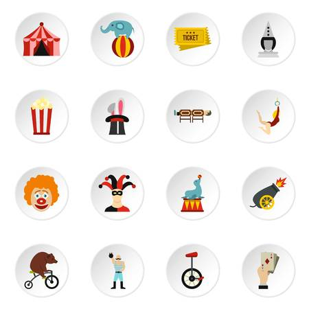 Circus entertainment icons set in flat style. Circus animals and characters set collection vector icons set illustration Stock Photo