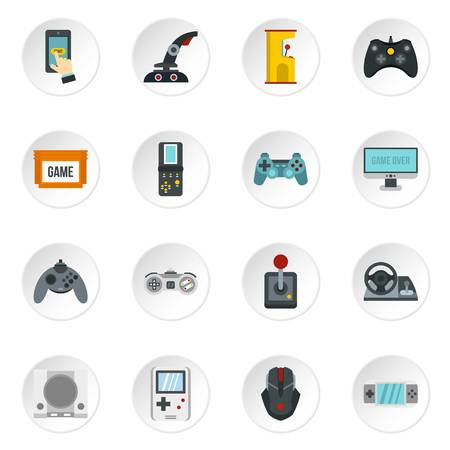 handheld device: Video game icons set in flat style. Game controllers set collection vector icons set illustration