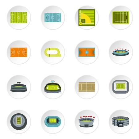 soccer goal: Sport stadium icons set in flat style. Sport fields set vector icons set illustration
