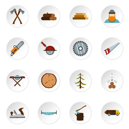 electric material: Timber industry icons set in flat style. Lumberjack equipment set collection vector icons set illustration Stock Photo