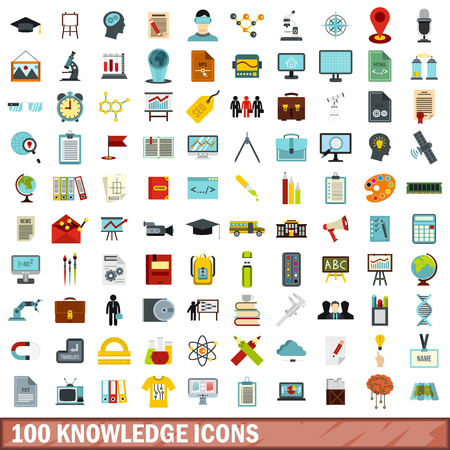 100 knowledge icons set, flat style Illustration