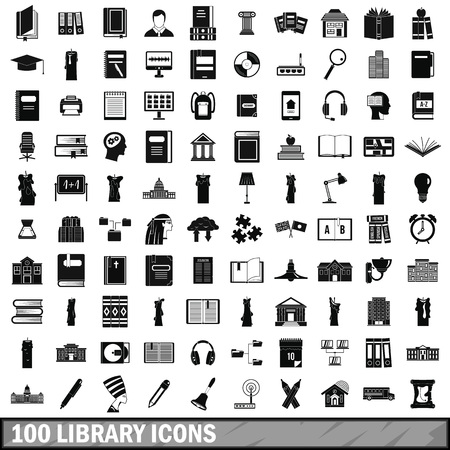 100 library icons set, simple style
