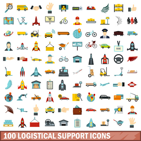 100 logistical support icons set, flat style