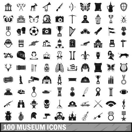 butterfly knife: 100 museum icons set, simple style