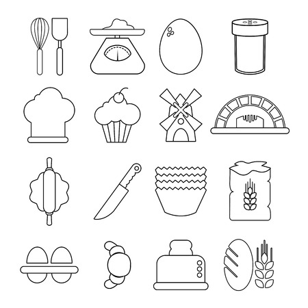 cupcakes isolated: Bakery icons set, outline style