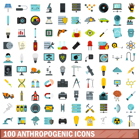 drive nail: 100 anthropogenic icons set, flat style