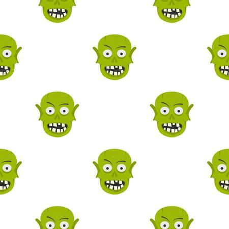 Green zombie head pattern seamless