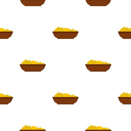 chips and salsa: Mexican nachos in brown bowl pattern seamless for any design vector illustration