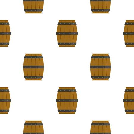 Wooden barrel pattern flat Illustration