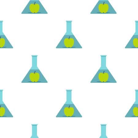 modification: Green apple in glass test flask pattern flat Illustration