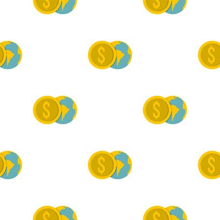 Globe and dollar coin pattern flat