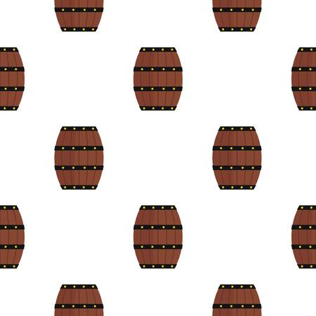 Wine wooden barrel pattern flat Illustration