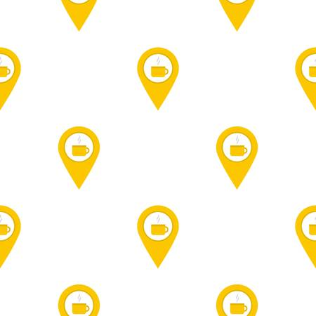 Yellow map geo tag with tea or coffee cup pattern