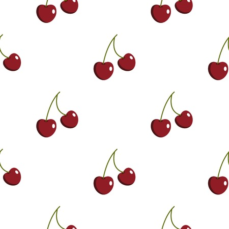 glace: Two ripe red cherry berries pattern flat