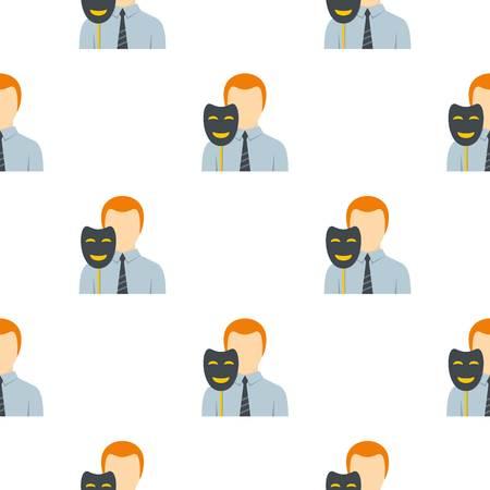 secret identities: Businessman holding fake mask smile pattern flat