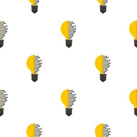 illuminate: Lightbulb with microcircuit pattern flat