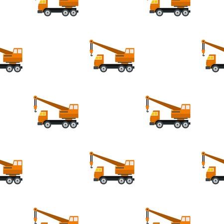 lifter: Orange truck crane pattern seamless flat style for web vector illustration Illustration