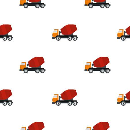 concreting: Truck concrete mixer pattern seamless flat style for web vector illustration Illustration