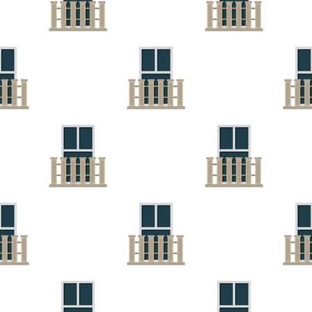 balustrade: Balcony balustrade with window i pattern seamless flat style for web vector illustration
