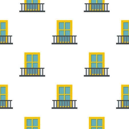 Balcony with a yellow window pattern flat