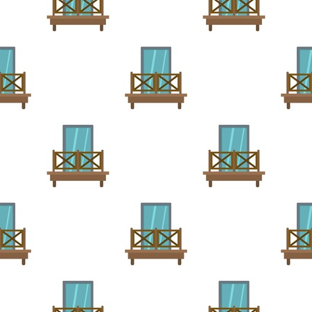 Balcony with wooden fence pattern flat