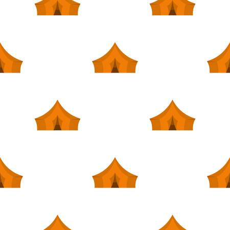 Orange tent for forest camping pattern flat