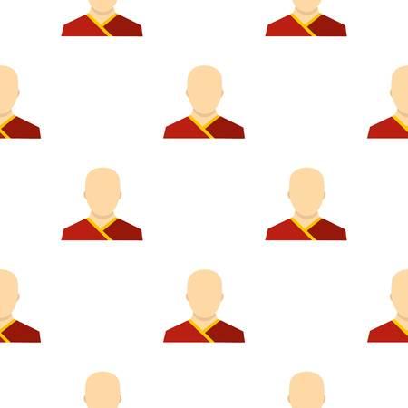 Moine bouddhiste modèle sans couture plate style pour illustration vectorielle web