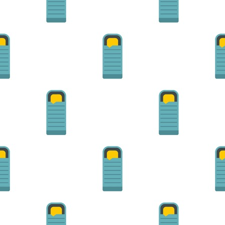 asleep: Blue sleeping bag pattern seamless flat style for web vector illustration Illustration