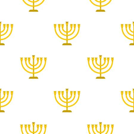 Jewish Menorah with candles pattern seamless flat style for web vector illustration Illustration