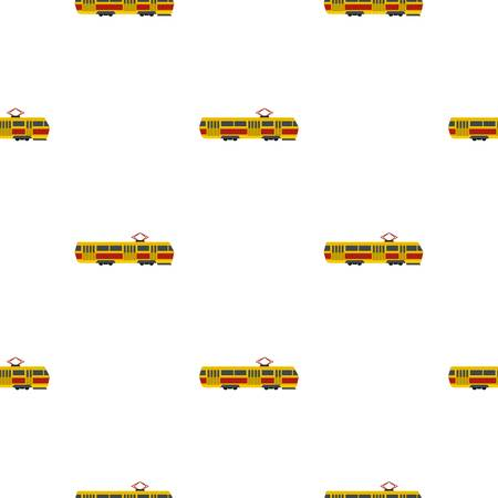Tram pattern seamless flat style for web vector illustration Illustration