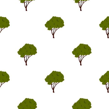 cultivate: Tree with fluffy crown pattern seamless flat style for web vector illustration