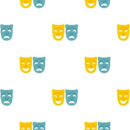 festivity: Happy and sad mask pattern flat Illustration