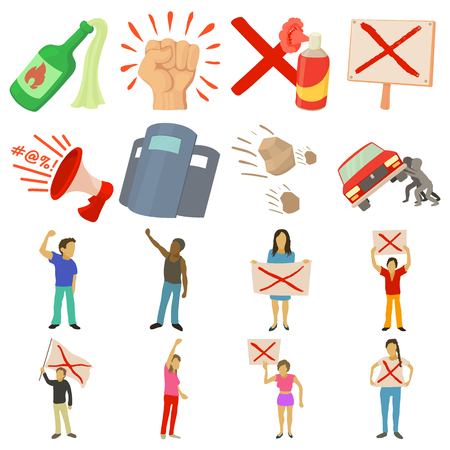 Protest items icons set. Cartoon illustration of 16 protest items vector icons for web