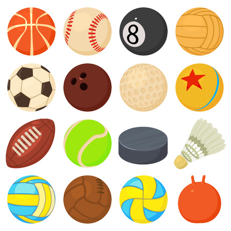 Sport balls icons set play types. Cartoon illustration of 16 sport balls play types vector icons for web Illustration
