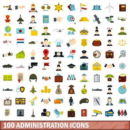 100 icone di amministrazione impostate, stile piatto Archivio Fotografico - 80395728