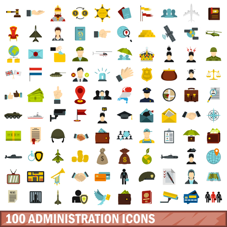 100 administration icons set, flat style Illustration