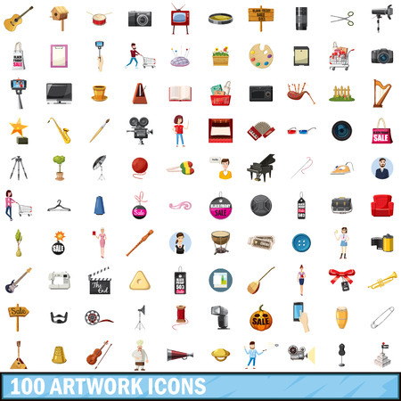 100 アイコンのアートワークは、漫画のスタイル設定