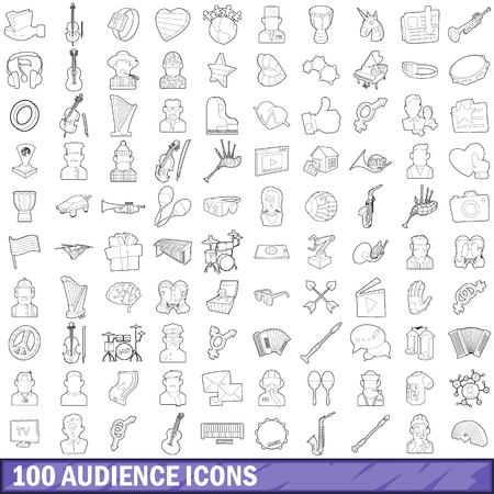 100 audience icons set, outline style