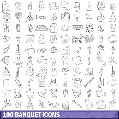 100 Bankett-Icons Set, Umriss Stil