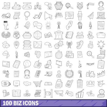 100 biz icons set, outline style