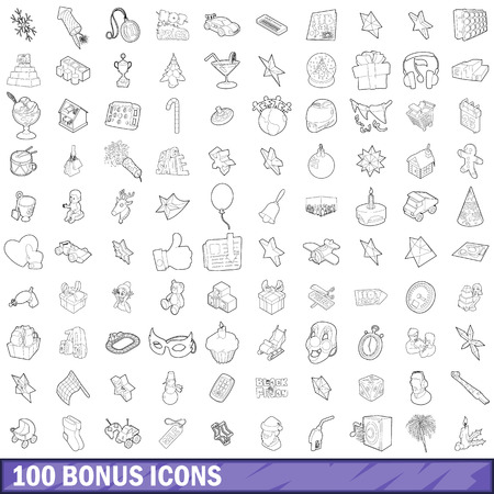 additional: 100 bonus icons set, outline style Illustration