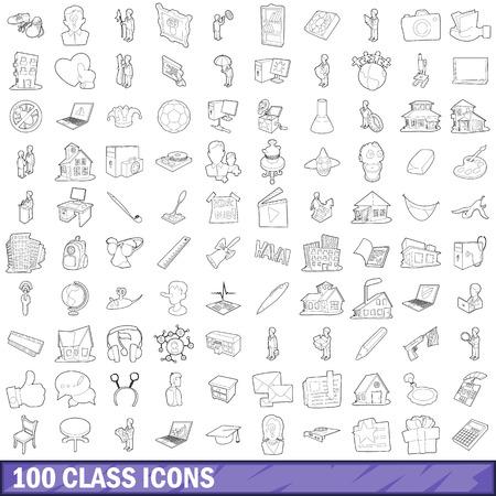 100 class icons set, outline style Ilustração