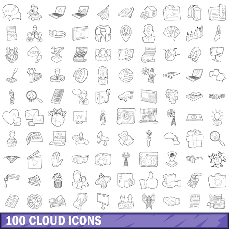 depository: 100 cloud icons set, outline style