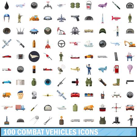 manmade: 100 combat vehicles icons set, cartoon style Illustration